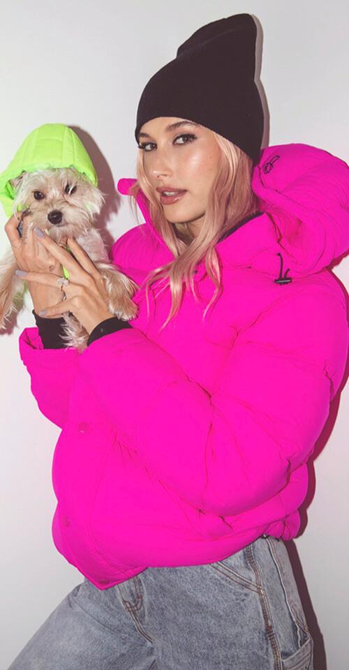 Hailey Bieber in The Original Super Puff in Neon FUCHSIA