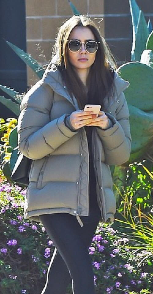 Lily Collins in The Original Super Puff in Modern Taupe
